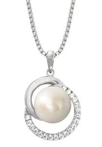 JOOP! Damen Halskette mit Perle Anhänger in Sterling Silber 925 silberfarben und Zirkonia - 2023380