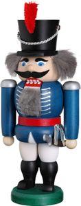 Nußknacker Figur Weihnachten original Erzgebirge Seiffen Husar blau 11452/2