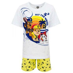 Paw Patrol Jungen Shorty Pyjama, weiß-gelb, Gr. 98-116 Größe - 110