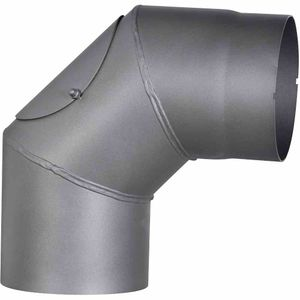 Ofenrohrbogen 90°, Ø 150 mm, grau fest mit Tür