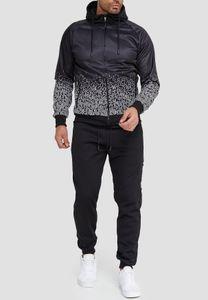 Herren Trainingsanzug Fitness Jogginganzug Basic Casual Streetwear Sportanzug Gym Set Jacke & Hose, Farben:Weiß, Größe Hosen:L