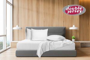 Double Jersey - Spannbettlaken 100% Baumwolle Jersey-Stretch, Ultra Weich und Bügelfrei, 100x200+38 Weiss