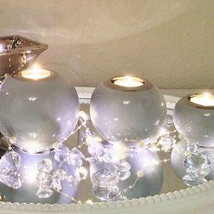 3er Set Teelichthalter Keramik 6 - 9 - 11 cm Grau-Silber