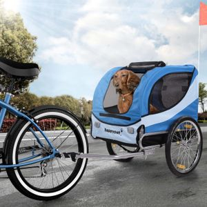 HAPPYPET Hundeanhänger Fahrradanhänger für Hunde Hundefahrradanhänger inkl. Anhängerkupplung Regenschutz  NAVY BLAU