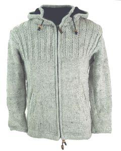 Strickjacke Wolljacke Nepaljacke Steingrau - Modell 23, Herren, Wolle, Größe: L