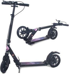 ISE Big Wheel Scooter Tretroller 200mm Roller Cityroller Klappbarer Scooter mit 2 Räder,Handbremse für Erwachsene und Kinder,2 Farbeauswahl,hoch Qualität (Sternenhimmel-Style)