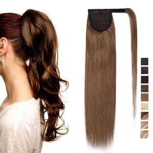 S-noilite Ponytail Extension Clip in Echthaar Pferdeschwanz Haarteil Haarverlängerung Zopf Hair Piece