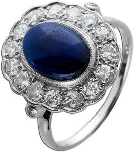 Antiker Saphir Brillantring 1920 Platin 950 blau leuchtender Saphir funkelnde Brillanten Unikat mit