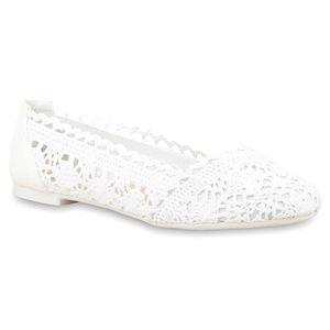 Mytrendshoe Spitze Damen Ballerinas Schuhe Slipper Flats 75033, Farbe: Weiß, Größe: 40