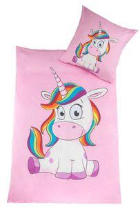 Kuscheli® Kinderbettwäsche Mädchen Einhorn Bettwäsche Set Unicorn Pony passend für Kinder Bettdecken 135x200 + Kissenbezug 80x80 rosa pink Pferde, Design - Motiv:Design 1