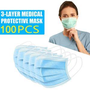 100st X Mundschutz 3 lagig ,Einweg Atemschutz Maske CE Hygieneschutz Gesichtsmaske ab 12. Juni