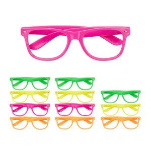 relaxdays 12x Partybrille Bunt, Neon Spassbrillen Faschingsbrille Lustige Brillen 4 Farben