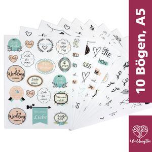 WeddingTree 10 Blatt A5 Sticker Hochzeit Gästebuch - 199 Sticker Fotoalbum Hochzeit