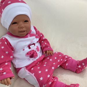 Baby Mädchen Set 3-teilig Body Hose + Mütze Gr. 56 Sterne pink weiß