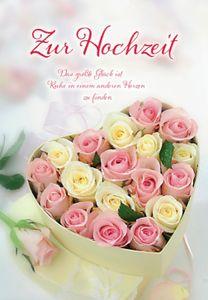 DeCoArt... XXL-Karte Riesenkarte Hochzeit Rosen in Herzschachtel rosa gelb creme ca. 22x31 cm mit Umschlag