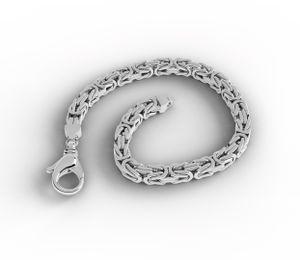 Valone Italienische Königsarmband rhodiniert 925 Sterling Silber vierkant 3.2 mm 21cm