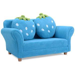 GOPLUS Kindersofa Kindersessel Kindercouch Sofa Doppelsofa Minisofa Kindermoebel zum Sitzen und Spielen,90 x 54,8 x 48 cm blau