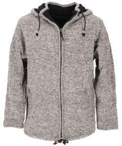 Wolljacke aus Nepal, Warme Gefütterte Strickjacke Grau Melliert - Modell 3, Herren, Wolle, Größe: M