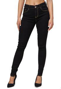 Damen Denim Stretch Jeans Push Up High Waist Basic Hose Dicke Naht Design Pants Übergröße Big Size, Farben:Schwarz, Größe:48
