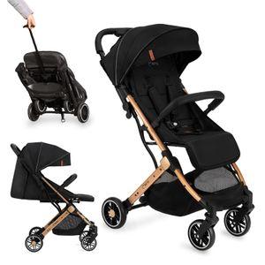 Buggy klein zusammen klappbar faltbar Kinderwagen mit Liegeposition MoMi Eestelle schwarz