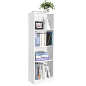 VASAGLE Bücherregal mit 4 Fächern weiß Holzregal 121,5 cm verstellbare Einlegeböden Aktenregal LBC104W