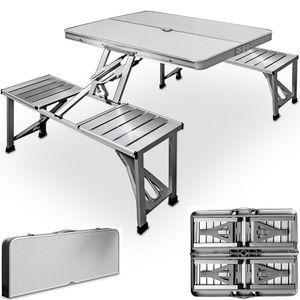 Deuba Alu Campingtisch mit 4 Stühlen klappbar Koffertisch Sonnenschirmhalter Tragegriff Sitzgruppe Camping Tisch Set