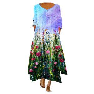 Frauen Plus Size Print Täglich Lässig Langarm Vintage Bohemian O Neck Kleid Größe:XXL,Farbe:Grün