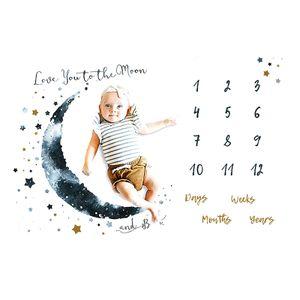 Baby Monats Decke für Jungen und Mädchen Unisex ,Baby Meilenstein Decke Fotodecke ,mit Monat als Geschenk zur Geburt