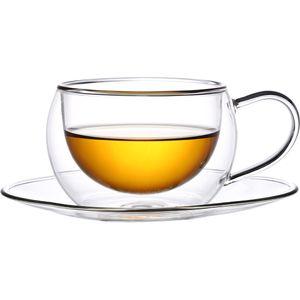Toah 2x 270 ml Thermogläser mit Henkel und Untertasse, doppelwandige Teegläser, Latte Macchiato Gläser, Tee/Kaffee Set, Cappuccinogläser, auch für Kaffee, Kakao, Vorspeisen und Desserts geeignet, Gläserset, Kaffeetassen