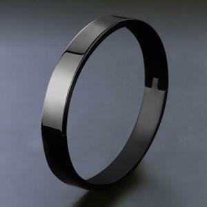 Edelstahl Armband Manschette Armreif Runde Armband für Männer 8mm schwarz 62x54x8mm