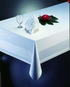 Gastro Uzal Damast Tischdecke weiß mit Atlaskante für Gastronomie- 130 x 220 cm