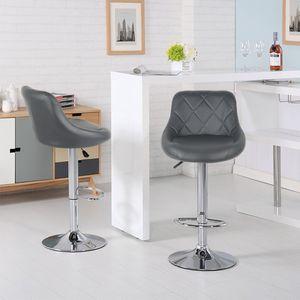 2er Set  Barhocker mit Lehne  aus Kunstleder 360° drehbar höhenverstellbar - Barstuhl, Küchenhocker Grau