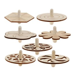 7 Stücke Bemalbarer unbehandelter Holz-Kreisel Kreative Muster-Spielzeug Holzspielzeug für Kinder