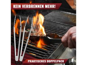 NATUMO Grillzangen Edelstahl 30cm, Küchenzangen mit Silikon-Griff, rostfrei (2er Set)
