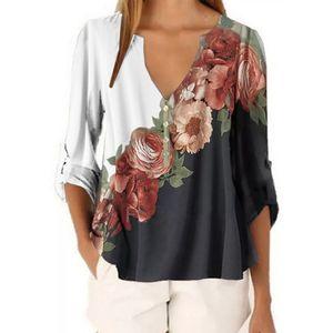 Frauen Blumen Langarm Bluse Damen Übergröße V-Ausschnitt Tunika T-Shirt Chiffon Tops,Farbe:Weiß,Größe:L
