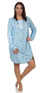 Damen Nachthemd Sleepshirt Nachtwäsche mit Muster, Blau L