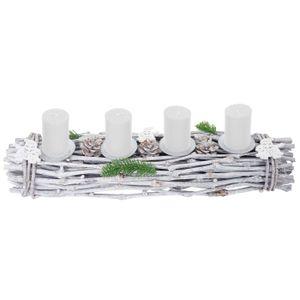 Adventskranz länglich, Weihnachtsdeko Adventsgesteck, Holz 60x16x9cm weiß-grau  mit Kerzen, weiß
