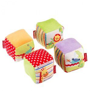Fisher-Price Baby-Würfel-Set 4-teilig mehrfarbige Baby-Spielwürfel weicher Stoff