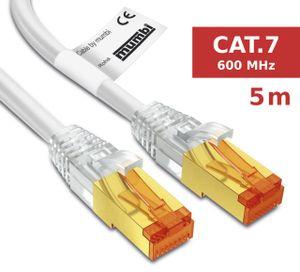 mumbi LAN Kabel 5m CAT 7 Rohkabel Netzwerkkabel S/FTP PimF CAT7 Rohkabel Ethernet Kabel Patchkabel RJ45 5Meter, weiss