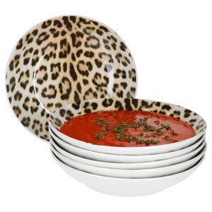 Mambocat Leopard Lampart 6-tlg. Suppenteller Set Leoparden Design I 450 ml I Soup bowl I Steingut