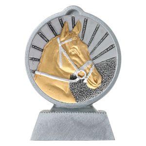 Pokal mit 3D Motiv Reiten Pferde Springreiten Serie Ronny 10,5 cm hoch