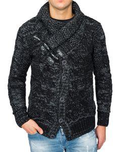 Warmer Strick-Pullover Langarm Skandi Grobstrick Norweger Hoodie , Farben:Schwarz-2, Größe Pullover:S