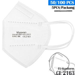 FFP2 Maske,  Atemschutzmaske Schutzmaske PM2.5 95% Filtration, 5 Schichten Mundschutz Maske (100 Stück)