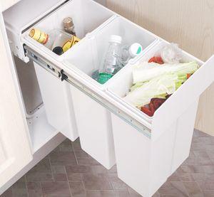 ilauke 30L Küchenabfalleimer, ausziehbarer Mülleimer, mit 3x10L Fächern zur Mülltrennung, HY1507-ILFBM