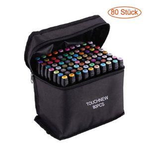 Permanent Marker Stifte,TOUCHNEW 80 Farben Doppel Spitzen Marker Pen, Sketch Twin Markierungen Textmarker mit Tragetasche zum Zeichnen Skizzieren von Farbmarkierungen Markieren und Unterstreichen