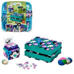 LEGO 41925 DOTS Geheimbox mit Schlüsselhalter, Schreibtischdeko, Bastelset für Kinder mit bunten Steinchen, Kreativset