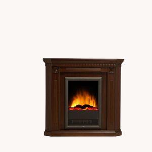Albero Möbel Elektro-Eckkamin NEPAL, die ideale Ecklösung kolonialbraun gebeizt und lackiert