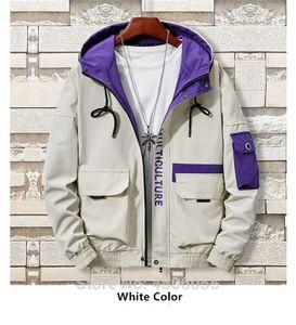 Herrenmantel Cargo-Jacke Large Size 3XL-8XL Hiphop Männer Kapuzenpullover -(weißer Mantel,8XL)