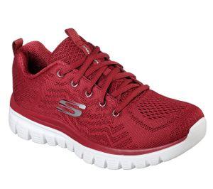 SKECHERS 12615/RED Graceful-Get Connected Damen Sneaker rot/weiß, Größe:36, Farbe:Rot