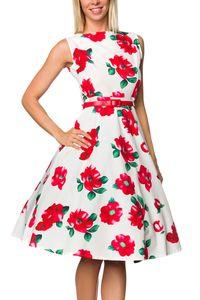 Vintage Rockabilly Petticoat Kleid mit Gürtel in weiß/rot Größe XL = 42